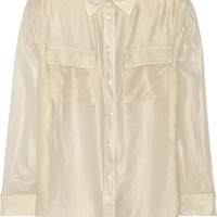 Equipment - Signature metallic cotton-crepe shirt