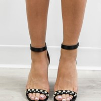 On The Way Black Pearl Studded Heels