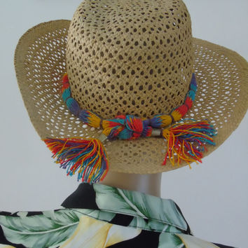 Vintage Betmar Beach Summer Sun Panama Hat, Women Straw Hat