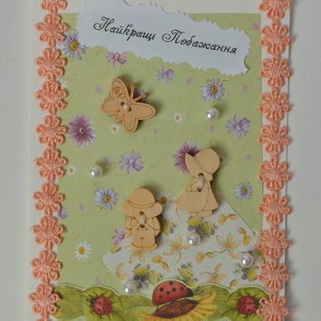 Handmade designer postcard lovely unusual present lovely cute accessories