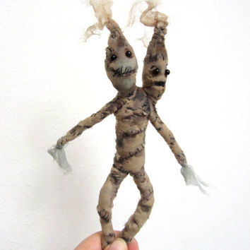 Creepy art doll mummy collectible, madrake root fiber art, posable sculpture, scary corpse doll one of a kind, unique self sitter, conjoined