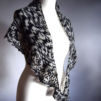 Zebra shawl, black and white handknit shawlette, womens scarf, african print scarf, lace shouldercover, crescent shape