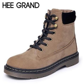 HEE GRAND Oxford Shoes Woman Winter Lace-up Flats Fashion Causal Women Timber Ankle Boots Women XWX5985