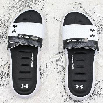 Under Armour Sandals Black White Slides Slippers-1