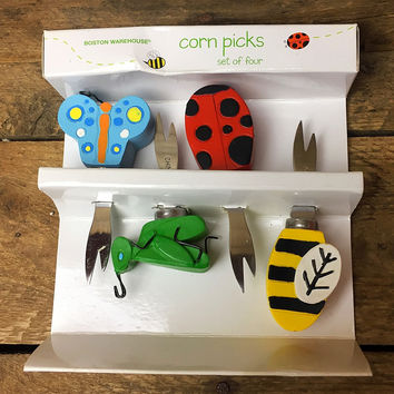 Boston Warehouse Springin' Garden Set of 4 Corn Picks