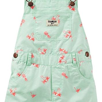 OshKosh Baby Girls Palm Tree Shortalls 18 Months Mint green