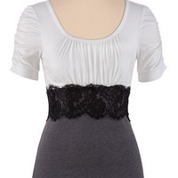 Cinch Sleeve Two-Tone Top with Lace - maurices.com