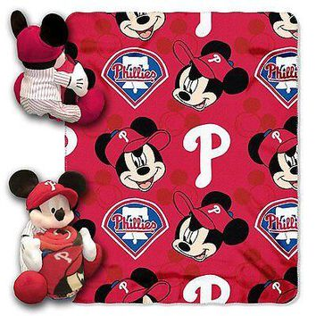 Philadelphia Phillies MLB Mickey Mouse Throw and Hugger Pillow Set