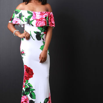 Rosette Printed Off The Shoulder Ruffle Maxi Dress