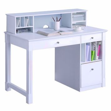WE Furniture Deluxe Solid Wood Desk w/ Hutch - White