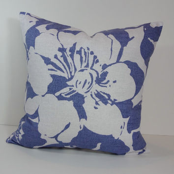Blue  Decorative Pillow Cover, P Kaufmann Fabrics, Blue and White Cushion Cover