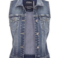 Silver Jeans ® Medium Wash Denim Vest - Medium Sandblast