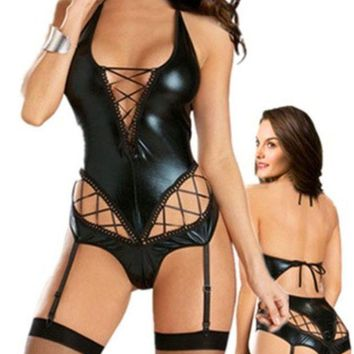 Easy Lover Sexy Patent Leather Teddy A Line Deep V Lingerie With Garter Belt (size: M Color: Black) = 1931924740