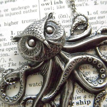 Owlctopus Half Owl Half Octopus Steampunk Necklace Victorian Octopus Owl Head Unique Original Design Rustic Primitive Antiqued Silver Plated