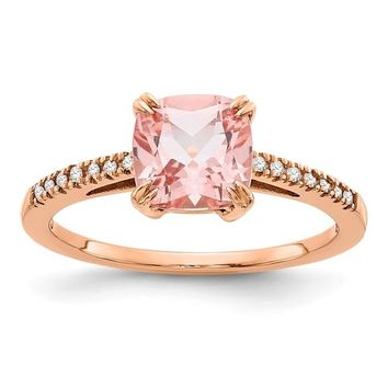 10k Rose Gold Cushion Cut Blush Pink Topaz And Diamond Ring