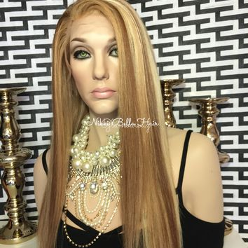 Honey Blond Balayage Remy Human Hair Natural Full Lace Wig - Nancy