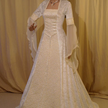 Ivory wedding dress, medieval dress, wedding dress, handfasting dress, renaissance wedding, fantasy dress, custom made