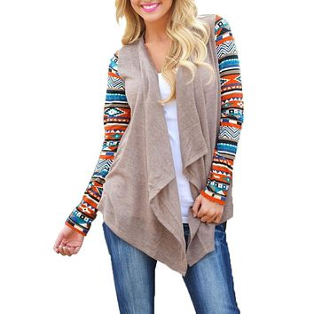 Aztec Print Cute Women Long Cardigan Ladies Sweater