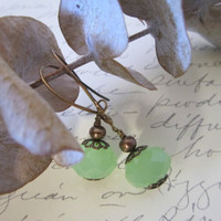 Green Glass Bead Earrings by 636designs