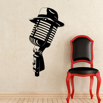 Wall Decal Microphone Studio Musical Instrument Rock Band Hat Wall Decals Rehearsal Room Bedroom Garage Window Stickers Home Decor 3950