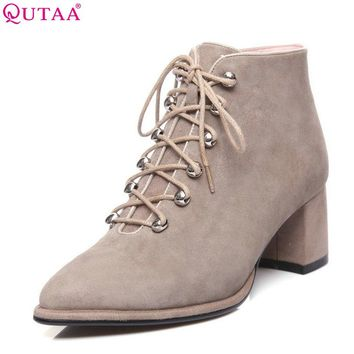 QUTAA 2018 Women Boots Lace Up Kid Suede Pointed Toe Solid Black Square High Heel Fashion Women Motorcycle Boots Size 33-42