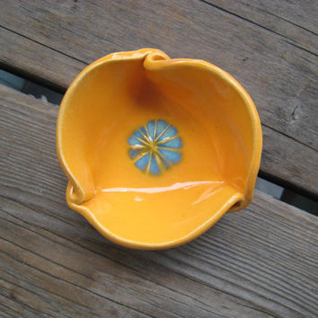 Tiny Ceramic Dish - Orange and Turquoise -  Small Ceramic Bowl - Ceramics and Pottery - Outdoor Decor - Small Gift - Ring Dish - Handmade