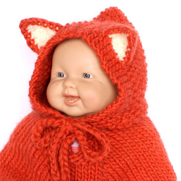Baby fox poncho. Baby fox outfit. Fox cape. Baby girl clothes Baby fox costume Children clothing Car seat cover Baby shower gift Photo Prop