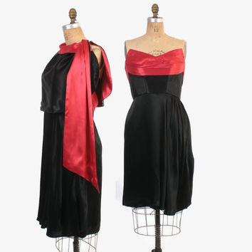 Vintage 70s Satin DRESS / 1970s Strapless Red & Black Dress Matching Capelet M - L
