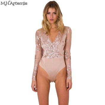 2017 M.h.artemis Sequin Lace Mesh Sexy Deep V Neck Bodysuit Chic Jumpsuit Romper Bodycon Girl Shinning Embellished Pluz Size