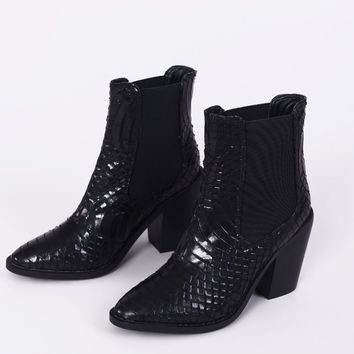 Black Faux Snake Print Heeled Boots