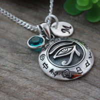Eye of Horus Necklace, Protection Necklace, Personalized Initial and birthstone  Eye of Ra necklace, Protection Jewelry