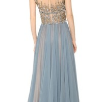 Embroidered Illusion Drop Shoulder Gown