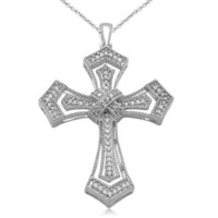 Sterling Silver and Diamond Cross Pendant Necklace (1/5 cttw), 18""