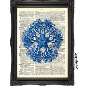 The Epitome of the Sea Blue Coral Vintage Print on an Unframed Upcycled Bookpage