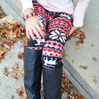 Pixie Point Reindeer Red & Pink Fair Isle Leggings