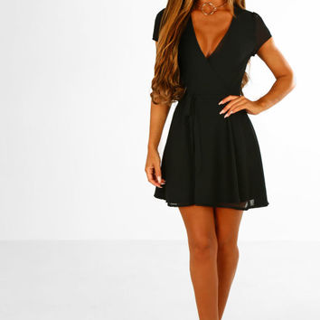 Tea and Scones Black Wrap Front Tea Dress