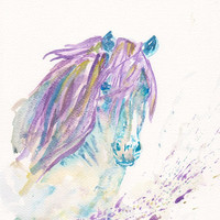 Sale - Buy 2 Get 1 Free  Art Watercolor Painting PRINT 8x11 Animal Wild Horse Home Decor Illustration  purple blue mustard