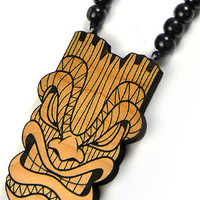 Tiki Mask Wood Pendant