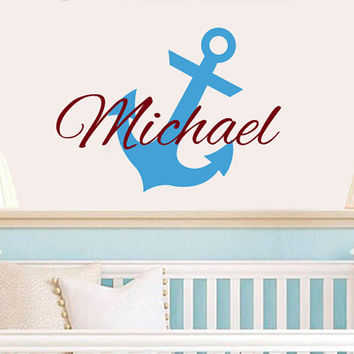 Personalized Anchor Name Wall Decal Vinyl Sticker Custom Name Decals Nautical Anchor Underwater Baby Name Nursery Boys Room Decor AN615
