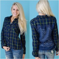 Plaid For Days Top (Blue / Green) - Piace Boutique