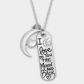 """I Love You To The Moon And Back"" Message Bar & Heart Moon Pendant Necklace"