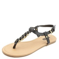 CHAIN T-STRAP THONG SANDALS