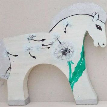 horse wooden toy for children hanging toy home decoration the horse in the dandelions  Valentine's day
