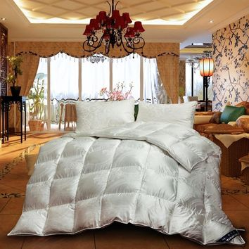 Cool Luxury Jacquard 100% white duck/goose down winter quilt comforter blanket duvet filling twin queen king size bedding quiltAT_93_12