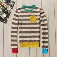 Men's Coffee Striped Multi-Trimmed Pullover Sweater