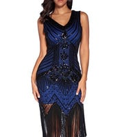 Gatsby Royal Blue Sequins Flapper Dress