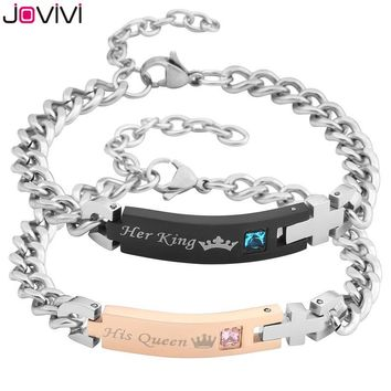 "Cool 2017 Latest Design JOVIVI 1-2pcs Men Women Stainless Steel CZ ""Her King & His Queen"" Couples Bracelets Matching Set in Gift BoxAT_93_12"