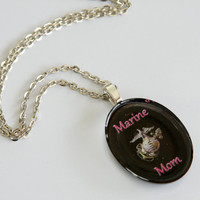 Marine Corp Mom Resin Art Pendant 5141 by BeadAwesomeBoutique