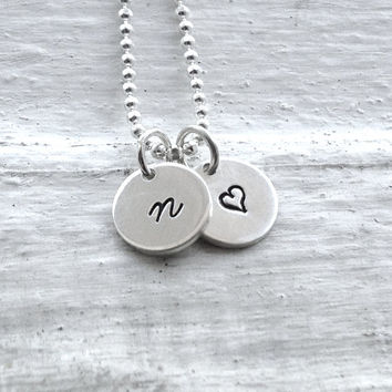 Personalized Tiny Heart Necklace, Sterling Silver Jewelry, Small Heart Necklace, Initial Necklace, Hand Stamped Jewelry, Initial Pendant