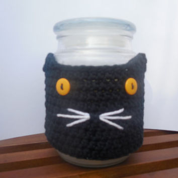 Halloween Black Cat Jar Candle Cozy Cover